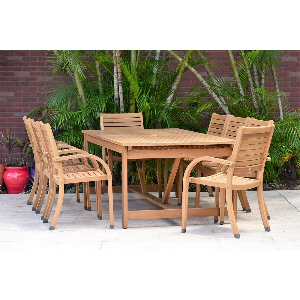 Amazonia Malaga Eucalyptus/Teak Finish 8-piece Rectangular Patio Dining Set with armchairs