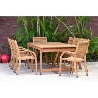 Amazonia Malaga Eucalyptus/Teak Finish 8-piece Rectangular Patio Dining Set with armchairs