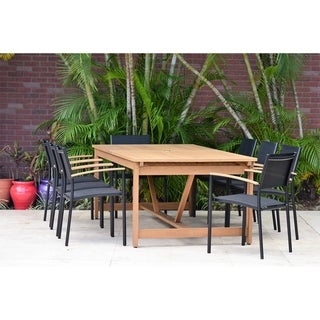 Buzios Rectangular and Extendable 9-Piece Patio Dining Set with Black Chairs by Amazonia
