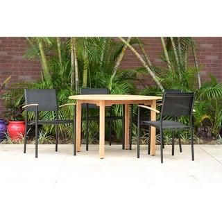 Alamo Teak Round 5-Piece Patio Dining Set with Black Chairs by Amazonia