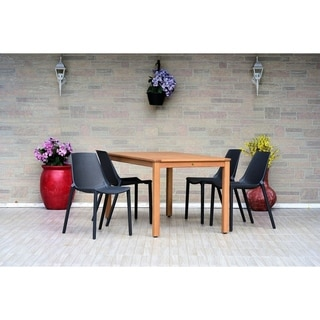 Havenside Home Papiit Eucalyptus/Resin 5-piece Rectangular Patio Dining Set with Grey Chairs