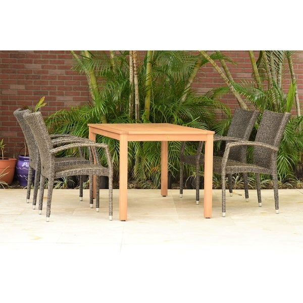Amazonia Gandía Eucalyptus Wicker 5 piece Rectangular Patio Dining Set with armchairs
