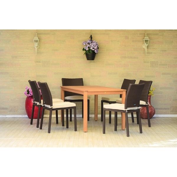 Amazonia Morocco Eucalyptus/Wicker 7-piece Rectangular Patio Dining Set