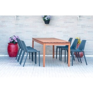 Havenside Home Pizarro Eucalyptus Rectangular 7-piece Patio Dining Set with Grey Chairs