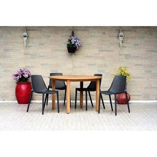 Papiit Eucalyptus/Teak Finish 5-piece Round Patio Dining Set with Grey Resin Chairs by Havenside Home