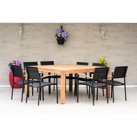 Marina Teak Square 9-Piece Patio Dining Set with Black Chairs by Amazonia