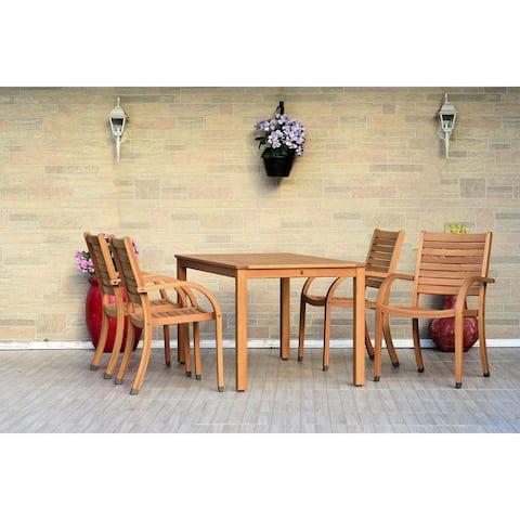 Roques Rectangular 5-Piece Patio Dining Set with teak finish