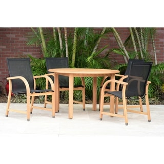 Amazonia Eucalyptus/Teak-Finish Waikiki 5-piece Round Patio Dining Set