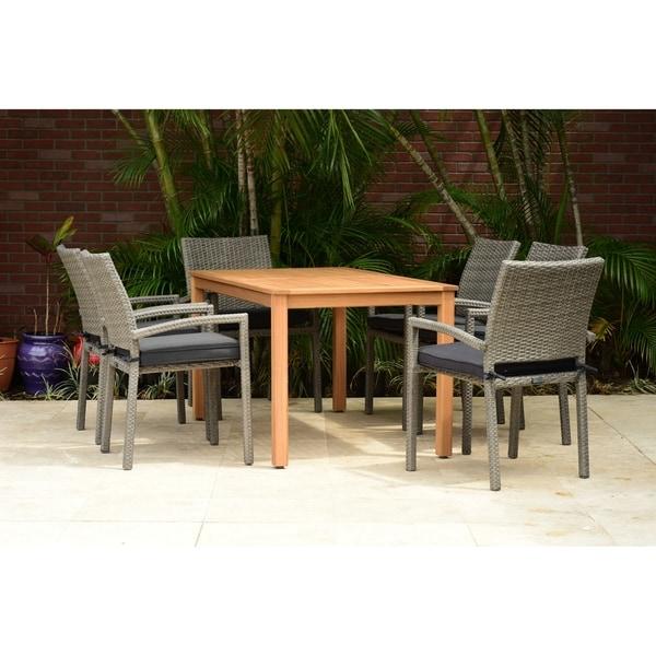 Amazonia Flamingo Eucalyptus/Wicker 7-piece Rectangular Patio Dining Set with Teak finish