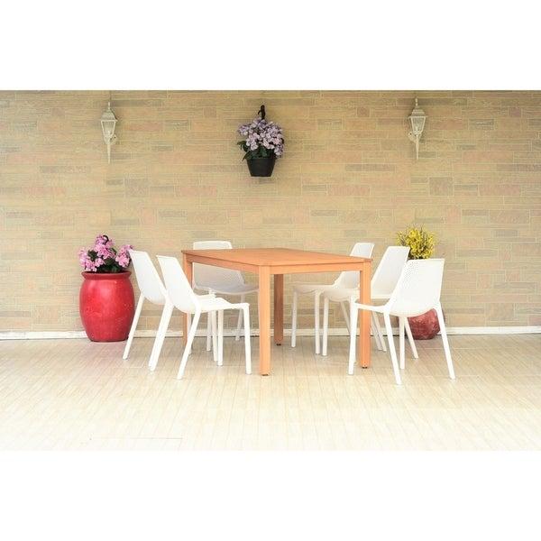Havenside Home Perce Eucalyptus/Resin 7-piece Rectangular Patio Dining Set with Teak Finish