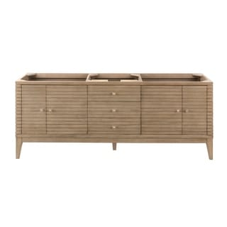 Linear 72-in. Whitewashed Walnut Double Vanity with Solid Surface Top