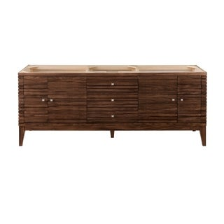 Linear 72-in. Mid-Century Walnut Double Vanity with Solid Surface Top