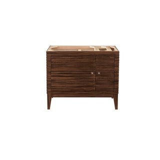 Linear 36-in. Mid-century Walnut Single Vanity with Solid Surface Top