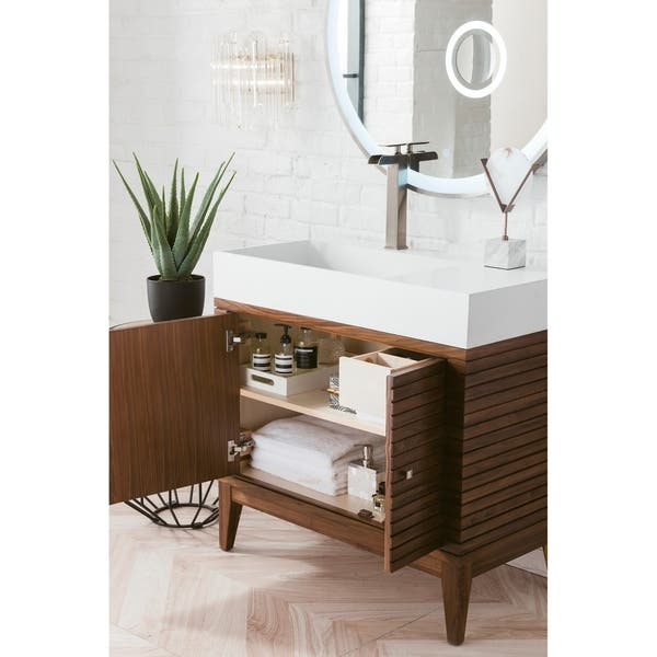 Linear 36 In Mid Century Walnut Single Vanity With Solid Surface Top Overstock 28135578 Single Vanity Base Only No Top Sink