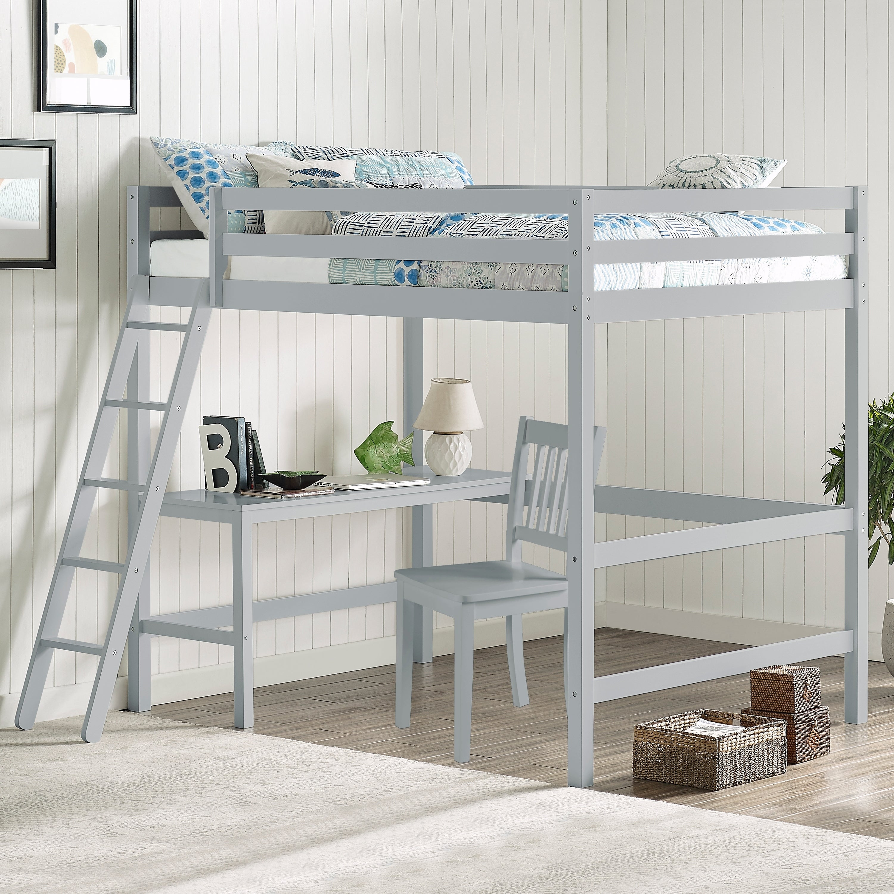 Taylor Olive Tansy Full Size Loft Bed With Chair Overstock 28135592 White