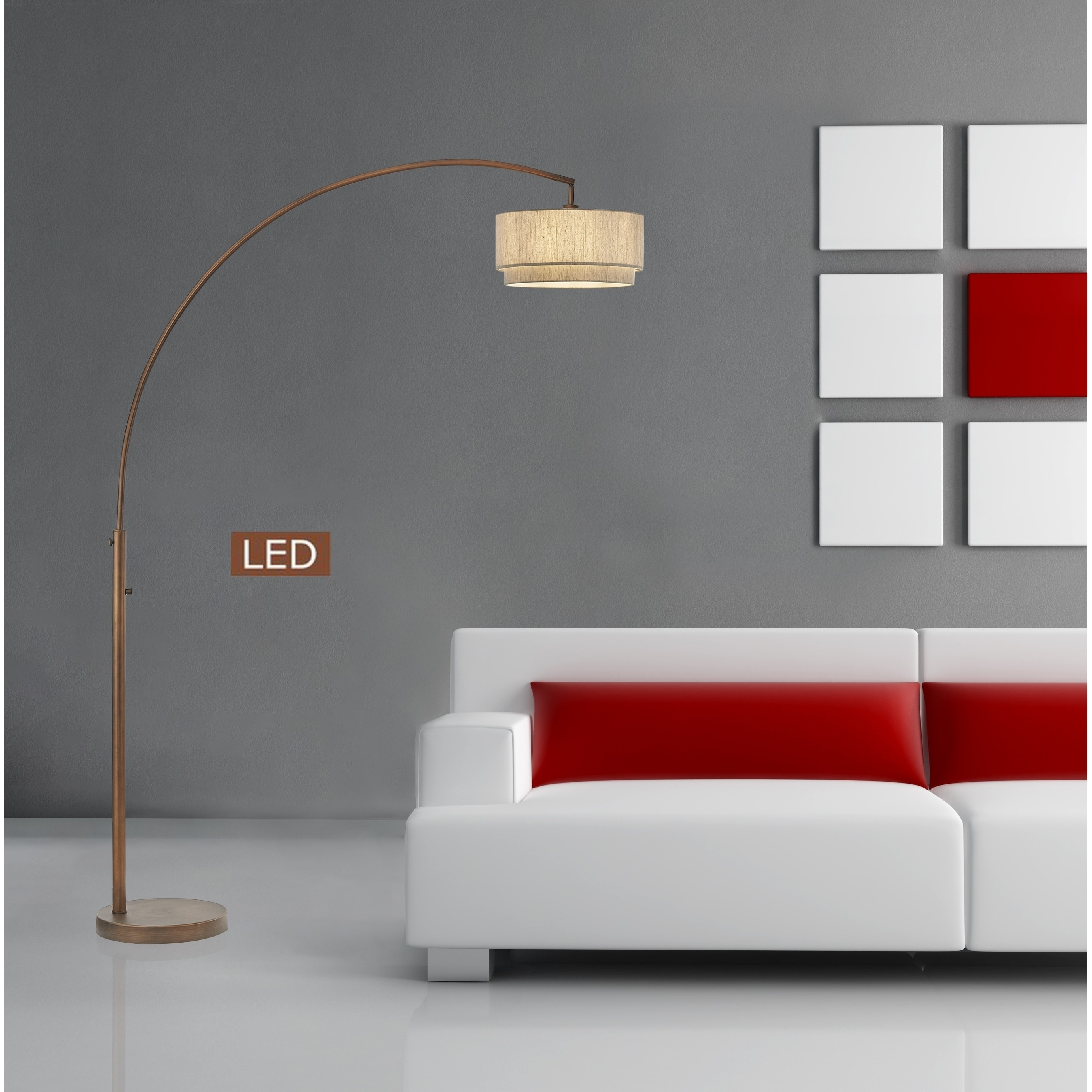 Artiva Elena II 82 LED Arched Floor lamp with Double Shade and Dimmer (60 to 100 Watts - Metal)