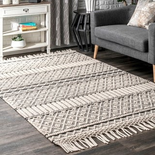 The Curated Nomad Lexington Modern Solid Textured Wool/Cotton Blend Handmade Area Rug with Tassels