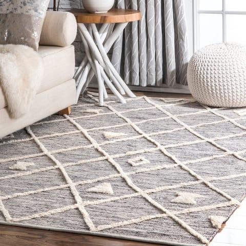 nuLOOM Handmade Casual Geometric Trellis Cotton Wingate Area Rug