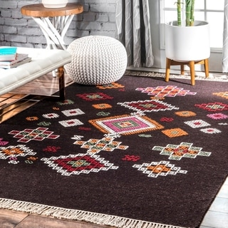 nuLOOM Mata Wool Blend Contemporary Geometric Flatweave Fringed Area Rug