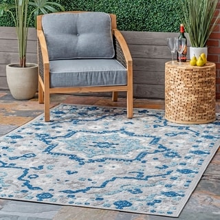nuLOOM Outdoor Transitional Medallion Decker Area Rug