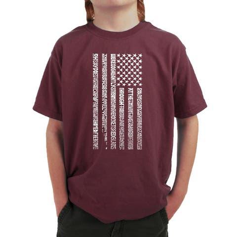 Boy's Word Art T-shirt - National Anthem Flag - LA Pop Art