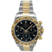 Pre-owned 40mm Rolex 18k Yellow Gold and Stainless Steel Daytona Watch with Black Dial