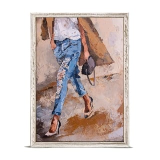 'Figurative - Going Shopping' by Donna J. West Mini Framed Art - 5 x 7