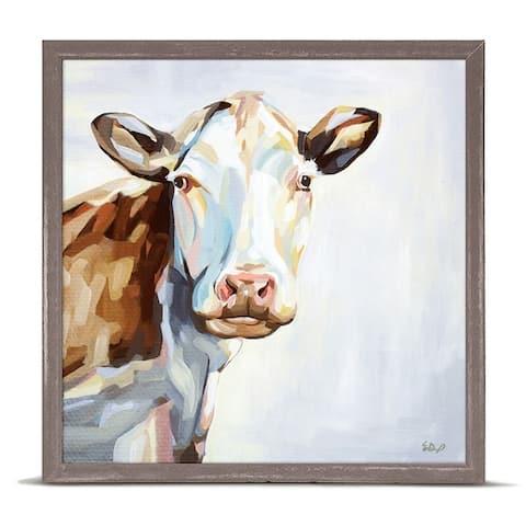 GreenBox 'Farm Cow' by Emily Drummond Mini Framed Art - 6 x 6