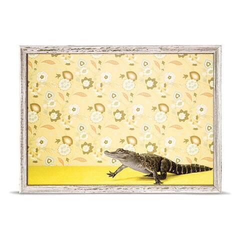 GreenBox 'Alligator On Yellow' by Catherine Ledner Mini Framed Art - 7 x 5