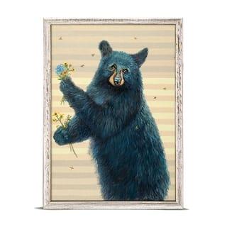 GreenBox 'Honey Bear With Flowers' by Nancy Bass Mini Framed Art - 5 x 7