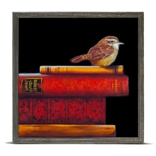 'Literary Roost - Wrenditions' by Camille Engel Mini Framed Art - 6 x 6