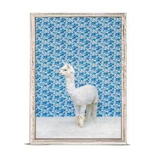GreenBox 'Llama On Blue' by Catherine Ledner Mini Framed Art - 5 x 7