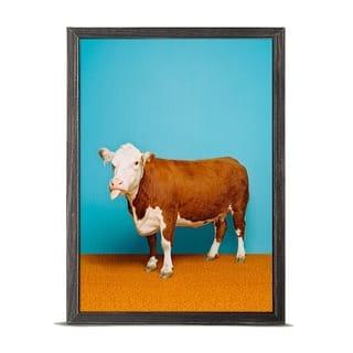 GreenBox 'Cow On Bright Blue' by Catherine Ledner Mini Framed Art - 5 x 7