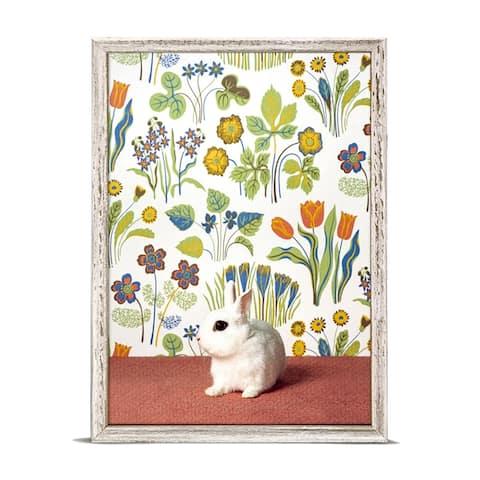 GreenBox 'Bunny On Floral Pattern' by Catherine Ledner Mini Framed Art - 5 x 7