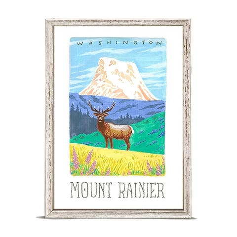 'National Parks - Mount Rainier' by Angela Staehling Mini Framed Art - 5 x 7