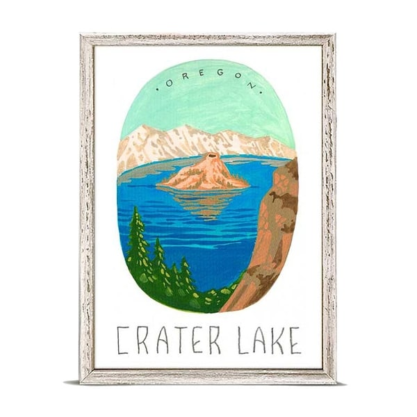 'National Parks - Crater Lake' by Angela Staehling Mini Framed Art - 5 x 7
