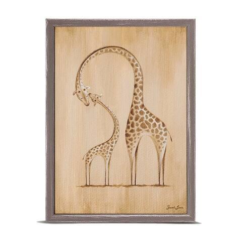 Oopsy Daisy 'Safari Kisses - Giraffe' by Sarah Lowe Mini Framed Art - 5 x 7