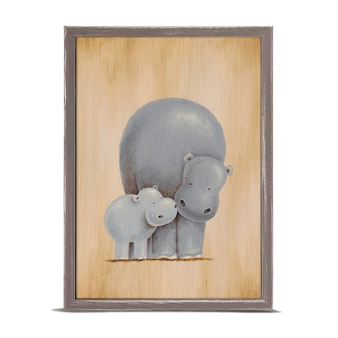 Oopsy Daisy 'Safari Kisses - Hippos' by Sarah Lowe Mini Framed Art - 5 x 7
