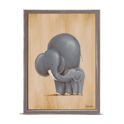 Oopsy Daisy 'Safari Kisses - Elephant' by Sarah Lowe Mini Framed Art - 5 x 7
