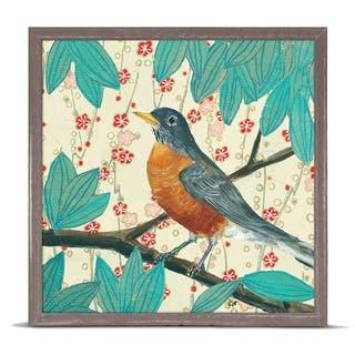 GreenBox 'Robin On Cream Floral' by Cody Blomberg Mini Framed Art - 6 x 6