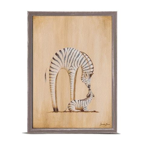 Oopsy Daisy 'Safari Kisses - Zebra' by Sarah Lowe Mini Framed Art - 5 x 7
