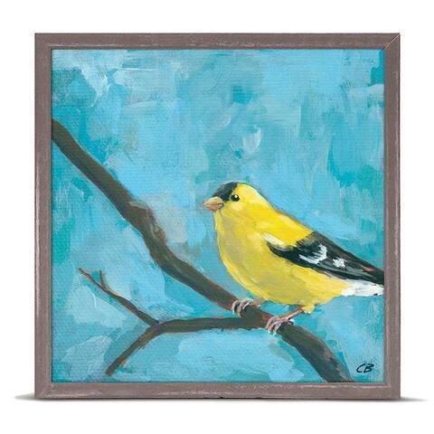 GreenBox 'Yellow Goldfinch On Blue' by Cody Blomberg Mini Framed Art - 6 x 6