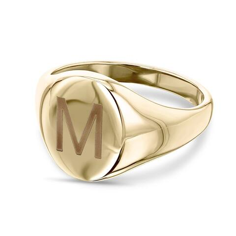 Annello by Kobelli 14k Yellow Gold Personalized Initials Oval Signet Ring - Sans Serif