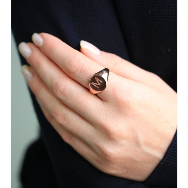 Annello by Kobelli 14k Rose Gold Personalized Initials Oval Signet Ring - Sans Serif. Opens flyout.