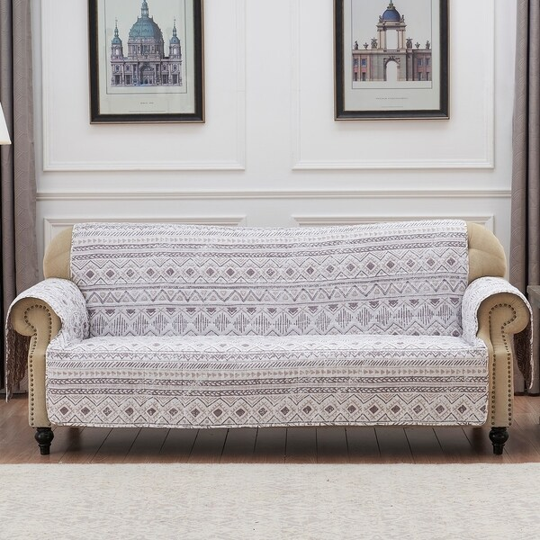 Barefoot Bungalow Denmark Ivory Reversible Sofa Couch Protector