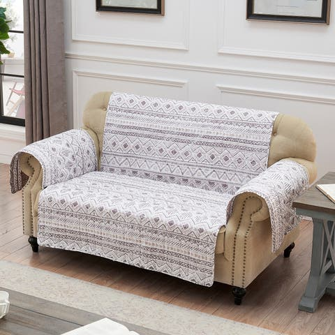 Barefoot Bungalow Denmark Ivory Reversible Loveseat Protector