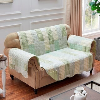Link to Porch & Den Lebanon Sage Reversible Loveseat Protector Similar Items in Slipcovers & Furniture Covers