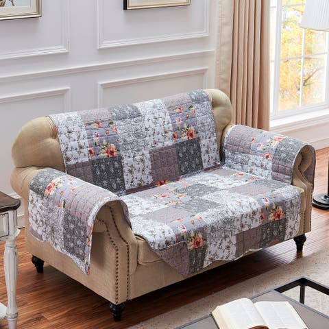 The Gray Barn Spring Arrow Grey Reversible Loveseat Protector