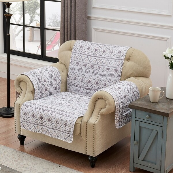 Barefoot Bungalow Denmark Ivory Reversible Arm Chair Protector