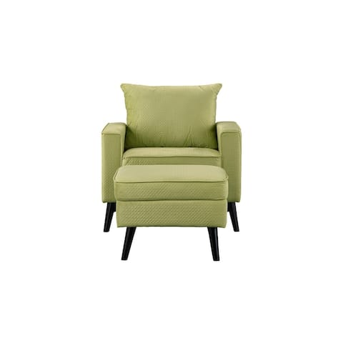 Armchair and Ottoman Set in Brush Microfiber Upholstery
